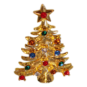 Eisenberg Ice Christmas tree pin with multicolored rhinestones