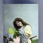 1908 Real Photo  Easter post card with girl, eggs, and flowers hand colored and trimmed ...