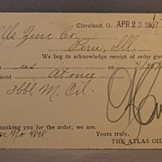 1907 Order receipt postcard from The Atlas Oil Co.