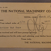 1908 Postcard National Machinery Co. oder receipt
