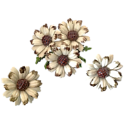 3-Piece painted metal flower pin and earring set