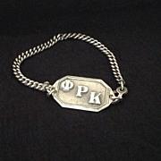 Silver tone Phi Rho Kappa sorority bracelet