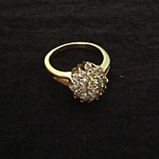 Gorgeous size 8 3/4 rhinestone cluster dinner ring