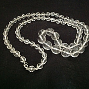SALE PENDING Faceted clear glass bead necklace