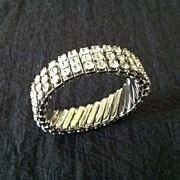 Rhinestone expansion bracelet marked Japan
