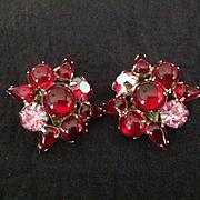 Weiss red clip earrings