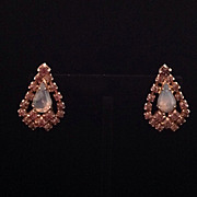 Vintage screwback earrings with teardrop opalescent and lavender stones