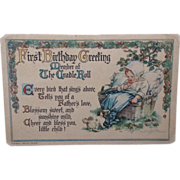 Postcard  First Birthday Cradle Roll  C. M. Burd