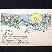 1918 Birth Announcement Postcard  E. Von H.