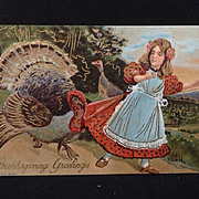 Thanksgiving Greetings  with Turkey pulling a girl's skirt
