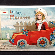 SALE 1911 Valentine Post Card with automobile theme