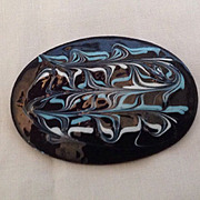 Black, blue and white glazed copper pin
