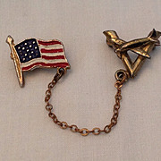 World War II Victory in Air pin with flag