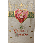SOLD Series 104 Valentine Postcard in Art Nouveau style A Valentine Message