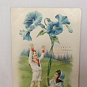 SALE 1908 Valentine Postcard with Morning Glories  Raphael Tuck Floral Missives Series