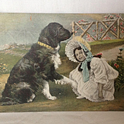 1908 Color Lithograph Postcard  Girl with Very Large Dog