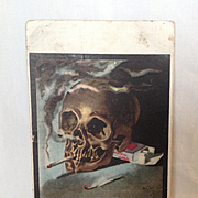 "1909 Macabre Colorgravure Postcard ""Still Smoking""  Artist signed. August Hutaf"