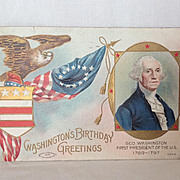 Washington's Birthday Greetings 1908 Patriotic Postcard