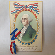 Unused George Washington's Birthday Postcard with Ribbon Add-on