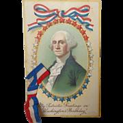 Unused George Washington's Birthday Postcard with Ribbon Add-on