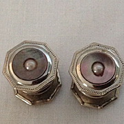 Silver tone metal octagonal snap together cuff links with shell and mother of pearl decoration