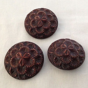 Set of three vintage brown buffed celluloid buttons