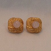 14K Gold filled and rose quartz clip earrings.