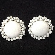 White disc earrings with twisted wired beaded border  Japan