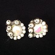 Hobe white iridescent bead clip earrings