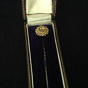 15 CT gold stick pin with small diamond in original presentation box