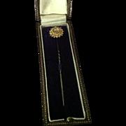 15 CT gold stick pin with small diamond in original presentation box