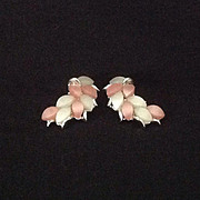 Kramer Pink and White Thermoset Plastic clip earrings