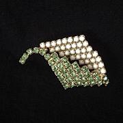 Green rhinestone and white glass bead leaf pin