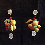 Bright Fruit Salad Dangling Earrings West Germany