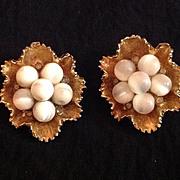 Frilled bead cluster earrings signed ART
