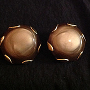 Brown and Gold Tone Yellow Metal Disc Earrings