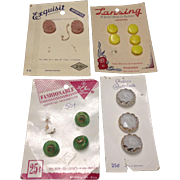 Four cards of vintage German glass buttons   Lansing, Schwanda, Exquisit and Fashionable brand