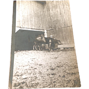 1911 Real Photo Postcard Farmer and Horses at the Watering Trough