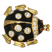 Enamel lady bug pin with rhinestones  Casual Corner