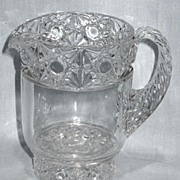 Early American Pattern Glass Daisy and Button Band Creamer
