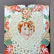 SALE Carrington Co. Folding Valentine Card with paper lace.