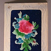 German Post Card with Flocked Add-on Flowers