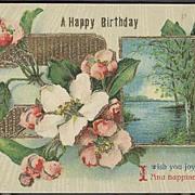 Postcard 1914 A Happy Birthday Saxony Post Card