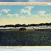 Post Card General View of Barracks at Civic Center Showing Cantonment Buildings