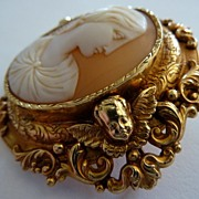 Victorian Angel Cameo Brooch in Extraordinary OOAK Cherub Gold Frame