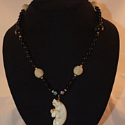 Chinese Onyx Bead Necklace with Large Carved Bear Pendant