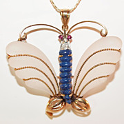 Unique 14K Gold  Rock Crystal and Lapis Lazuli Butterfly Pendant with Diamond and Ruby Accents