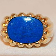 Gentleman's Scalloped 18K Gold and Lapis Lazuli Ring