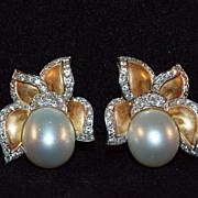 18K Gold and Diamond South Sea Pearl Earrings