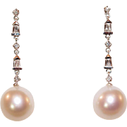 SALE South Sea Pearl and Diamond Drop Earrings